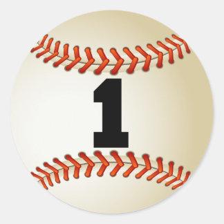 Number 1 Baseball Classic Round Sticker