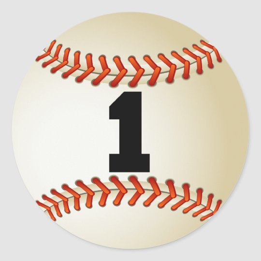 Number 1 Baseball Classic Round Sticker