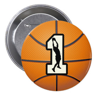Number 1 Basketball and Player 3 Inch Round Button