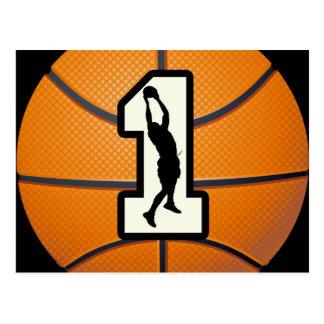 Number 1 Basketball and Players Postcard