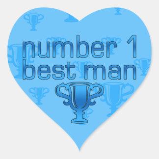 Number 1 Best Man Heart Sticker