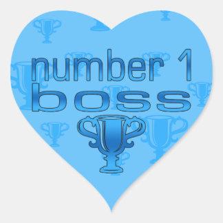 Number 1 Boss in Blue Heart Sticker