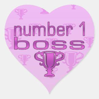 Number 1 Boss in Pink Heart Sticker