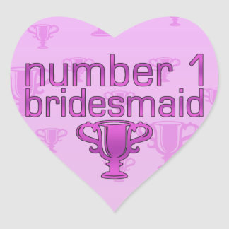 Number 1 Bridesmaid Heart Sticker