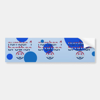 Number 1 Brother in American Flag Colors Bumper Sticker
