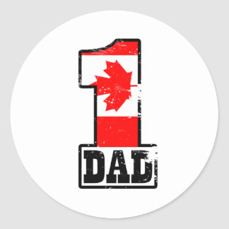 Number 1 Canadian Dad Classic Round Sticker