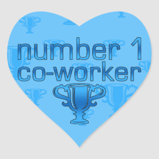 Number 1 Co-Worker in Blue Heart Sticker