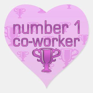 Number 1 Co-Worker in Pink Heart Sticker