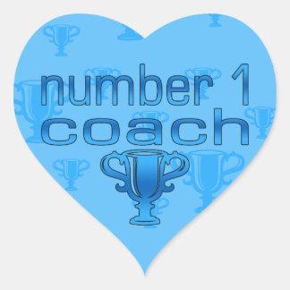 Number 1 Coach in Blue Heart Sticker