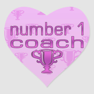 Number 1 Coach in Pink Heart Sticker