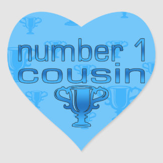 Number 1 Cousin in Blue Heart Sticker