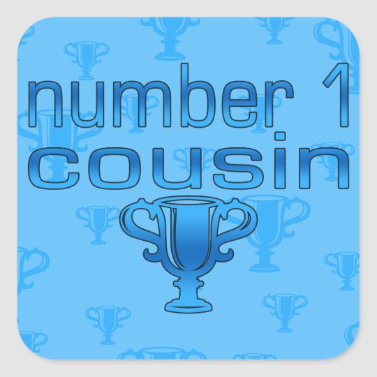 Number 1 Cousin in Blue Square Sticker