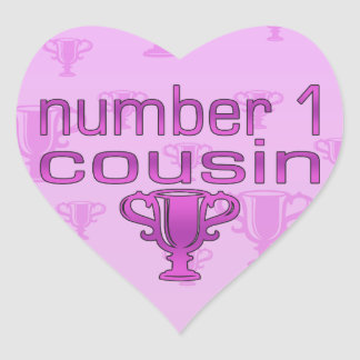 Number 1 Cousin in Pink Heart Sticker