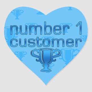 Number 1 Customer in Blue Heart Sticker