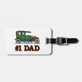 Number 1 Dad - Antique Car Travel Bag Tag