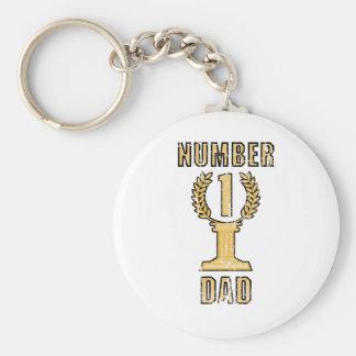 Number 1 Dad Basic Round Button Keychain