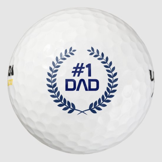 Number 1 Dad Blue Tones Wreath Golf Balls