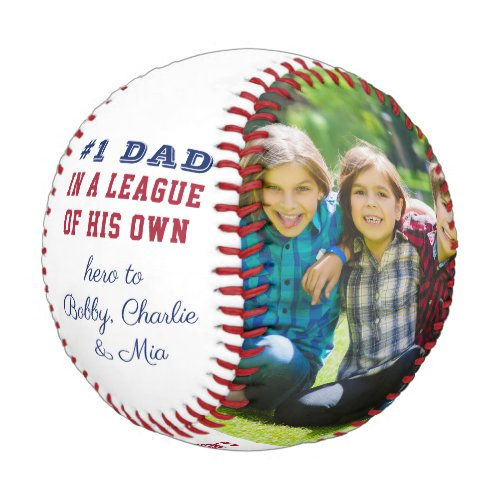 Number 1 Dad Quote Custom 2 Photo Personalized Baseball