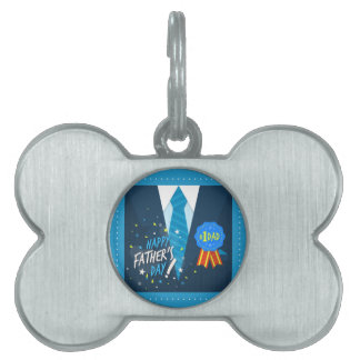 Number 1 DadNumber one dad blue badge tie suit fat Pet ID Tag