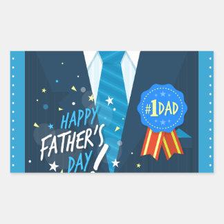 Number 1 DadNumber one dad blue badge tie suit fat Rectangular Sticker