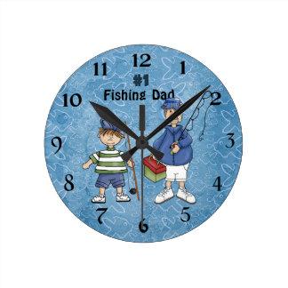 Number #1 Fishing Dad Round Clock