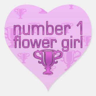Number 1 Flower Girl Heart Sticker