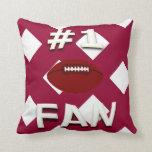 Number 1 Football Fan CW Throw Pillow
