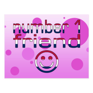 Number 1 Friend in American Flag Colors for Girls Postcard