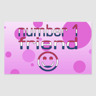 Number 1 Friend in American Flag Colors for Girls Rectangular Sticker