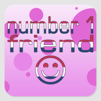 Number 1 Friend in American Flag Colors for Girls Square Sticker
