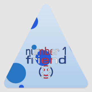 Number 1 Friend in British Flag Colors for Boys Triangle Sticker