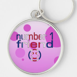 Number 1 Friend in British Flag Colors for Girls Keychain