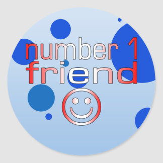 Number 1 Friend in Canadian Flag Colors for Boys Classic Round Sticker