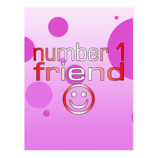 Number 1 Friend in Canadian Flag Colors for Girls Postcard