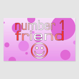 Number 1 Friend in Canadian Flag Colors for Girls Rectangular Sticker
