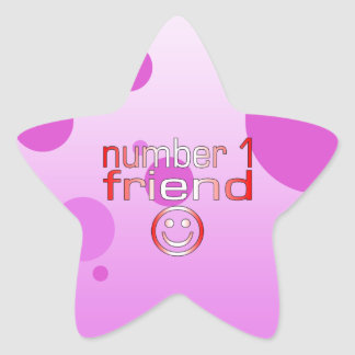 Number 1 Friend in Canadian Flag Colors for Girls Star Sticker