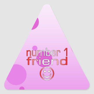 Number 1 Friend in Canadian Flag Colors for Girls Triangle Sticker
