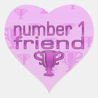Number 1 Friend in Pink Heart Sticker