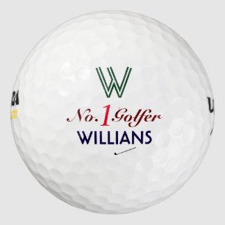 number 1 golfer custom monogram golf balls