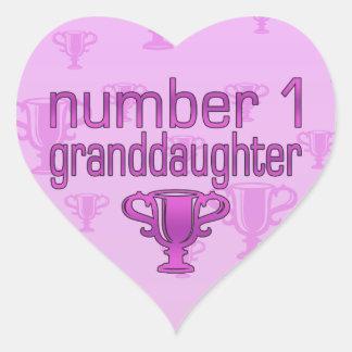 Number 1 Granddaughter Heart Sticker