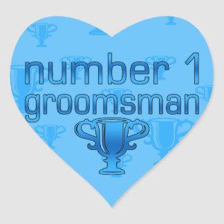 Number 1 Groomsman Heart Sticker