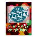Number 1 Hockey Coach Blue Christmas Card