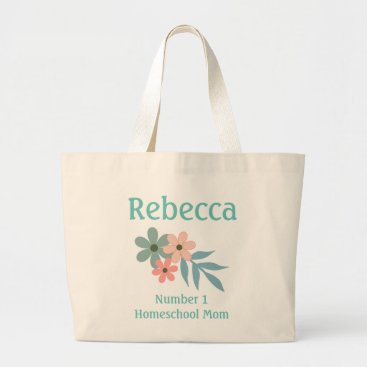 Beach Themed Number 1 Homeschool Mom Peach and Blue Flower Large Tote Bag