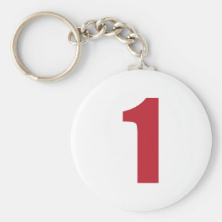 Number 1  in red on white button keychain