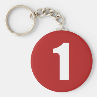 Number 1  in white on red button keychain