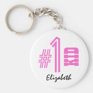 Number 1 KID Best Kid Custom Name Pink Basic Round Button Keychain