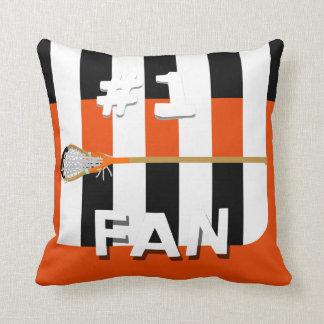 Number 1 Lacrosse Fan Throw Pillow