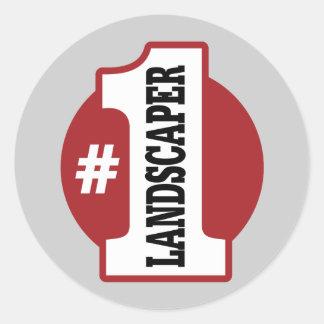 Number 1 Landscaper Round Stickers