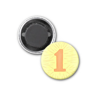 Number 1 magnet with yellow and orange
