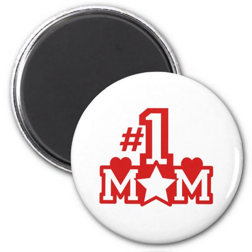 Number 1 Mom 2 Inch Round Magnet